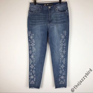 Seven 7 Embroidered Eyelet Mid Rise Ankle Skinny